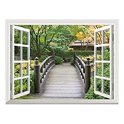 Fascinating Design, Made For You, White Window Looking Out Into a Bridge Surrounded by Trees Wall Mural