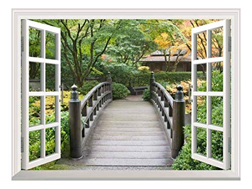 White Window Looking Out Into a Bridge Surrounded by Trees Wall Mural