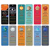 Outer Space Planets Universe Fun Facts Bookmark Cards (60-Pack)- Astronomy Sun Venus Mars Earth Moon Jupiter Saturn Uranus Neptune - Astrophysics Party Favors - Teacher Classroom Incentive Giveaways