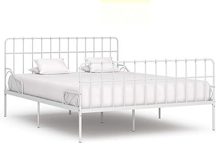FAMIROSA Estructura de Cama con somier Metal Blanco 200x200 ...
