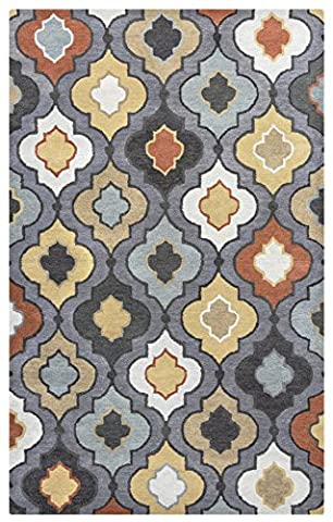 Rizzy Home Bradberry Downs Collection Tufted Area Rug, 3' x 5', Blue Grey/Yellow/Red (Yellow Grey Blue Area Rug)