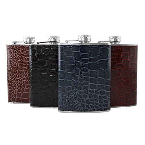 Gifts Infinity Set of 4 8oz Stainless Steel Flask Wrap with - Wrap Stainless Leather Flask Steel