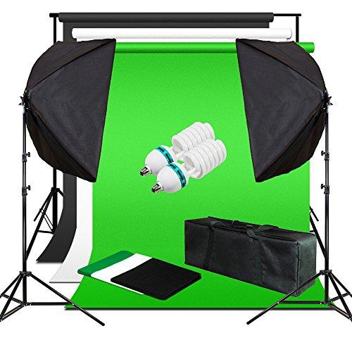 Julius Studio Photo Video Studio 6000 Kelvin Lighting Kit with 3 Backdrop, White, Black, Green, Soft Box with Light Stand Tripod and Carry Bag, Photography Studio, JSAG260 by Julius Studio