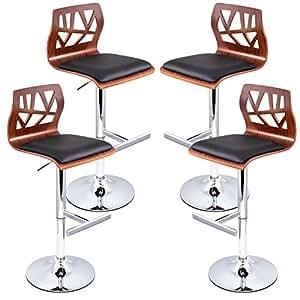 Artiss 4 x Adjustable Bar Stool Swivel Counter Bar Chair Leather Wood Kitchen Dining Stool