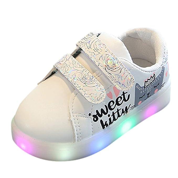 Zapatillas deportivas de Niños Niñas, ❤ Amlaiworld Zapatos ligeros luminosos de Led Light de Gato Carta Corazón impreso Zapatillas Unisex Niñas Calzado ...