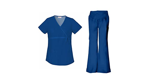 57661043744 Cherokee Flexibles Maternity Mock Wrap Top 2892 & Flare Leg Pant 2092 Scrub  Set (Navy - Small/XSmall Tall)