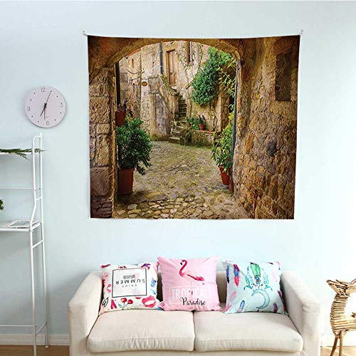 (WilliamsDecor Scenery Pattern Tapestry Landscape from Another Door Antique Style Stone Village Tuscany Italian Valley Gorgeous Tapestry 47W x 47L InchMulticolor)