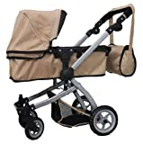Babyboo SAND Deluxe 2 in 1 Doll Pram/Stroller with Swiveling Wheels Color SAND and BLACK with Swiveling Wheels and Adjustable Handle and Free Carriage Bag – 9651BSAND, Baby & Kids Zone