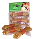 Chubby Chews 4-1/2-Inch Premium Rawhide Knotted Bone Wrapped with Real Chicken, Natural Brown Shade, 4 Pieces Per Bag, My Pet Supplies
