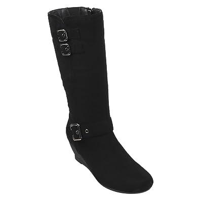 EJ71 Women's Fashion Side Zipper Mid-Calf Wedge Boots Half Size Small