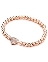 Rose Gold Beads Link Charm Bracelet for Women Girls with Cubic Zirconia Heart Charm, Polished