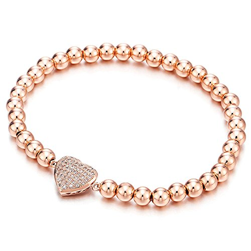 COOLSTEELANDBEYOND Rose Gold Beads Link Charm Bracelet for Women Girls with Cubic Zirconia Heart Charm, Polished - Gold Bead Bracelet Bangle