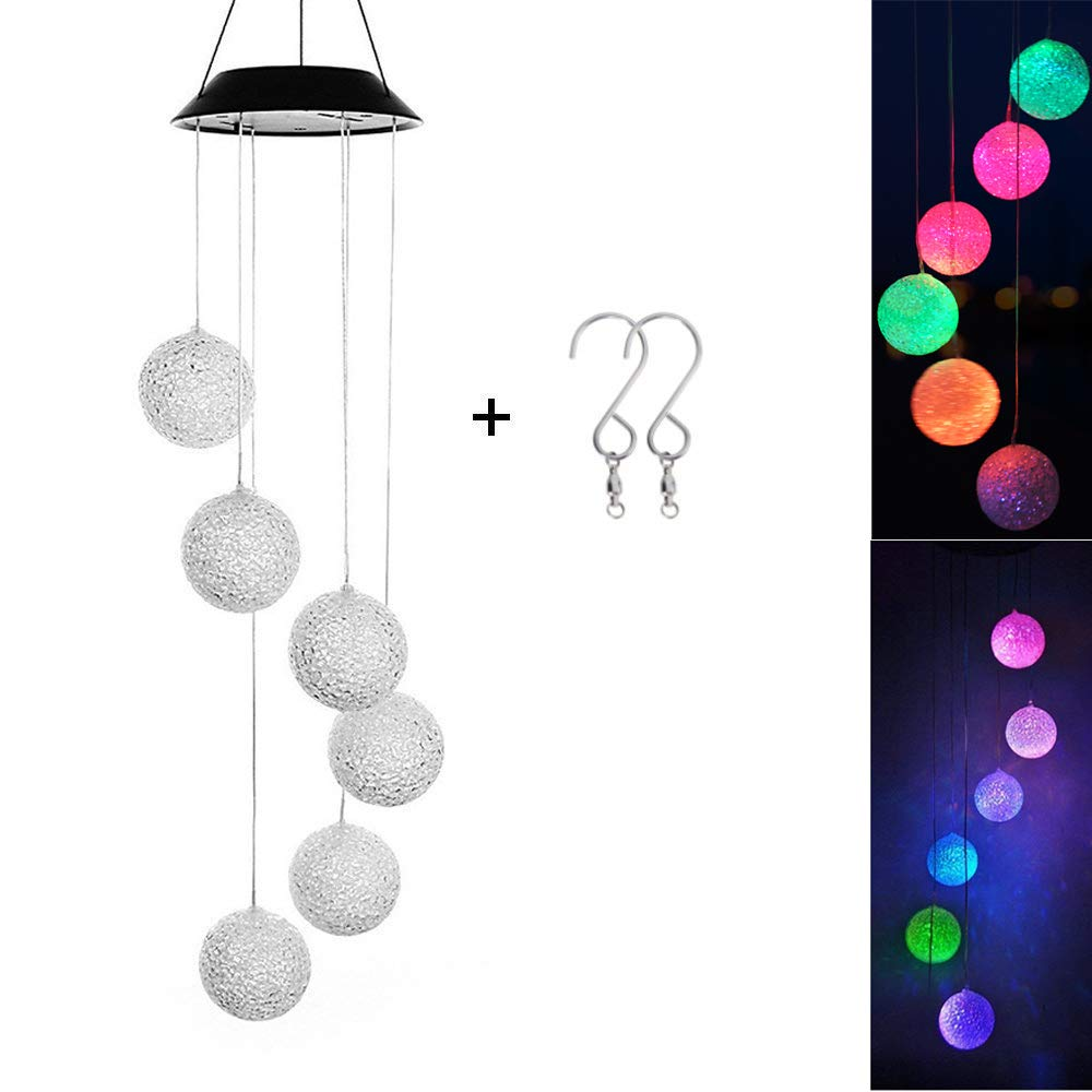 DEWEL Solar Wind Chimes 6 LED Decorative Light Multi-color Glow Ball Hanging lighting For Window Party Wedding Home Garden