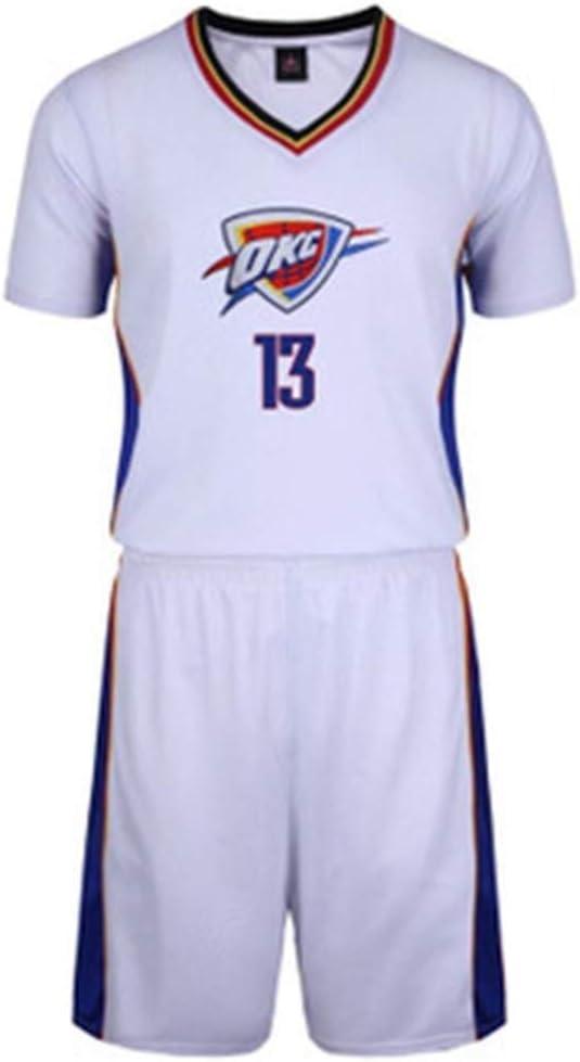 Camisa de Baloncesto de la NBA de Baloncesto for Hombre Oklahoma City Thunder No. 13 Chándal de Baloncesto Camisa sin Mangas + Pantalones Cortos Blanco XIKJUK (Size : L): Amazon.es: Deportes y