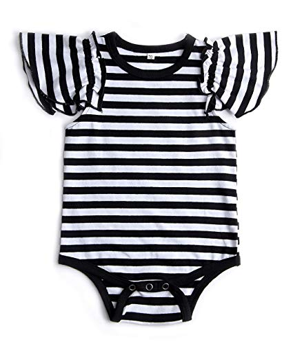 Uideazone Newborn Baby Girls Fly Sleeve Striped Romper Bodysuit Infant Jumpsuit One Pieces Summer ()