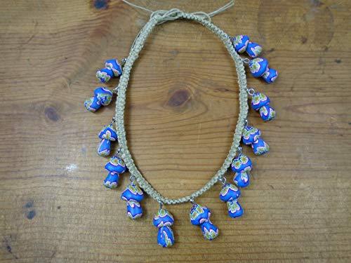 BEACH HEMP JEWELRY Mushroom Choker Necklace Blue Adjustable Handmade In USA ()