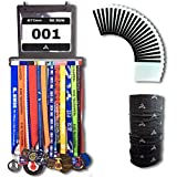 ETOAA Medal Display Hanger and Bib Holder - easy to fix wall mounted rack in a premium gift box; ideal for achievements in running, triathlon, marathon and other sports; ideal for gifts