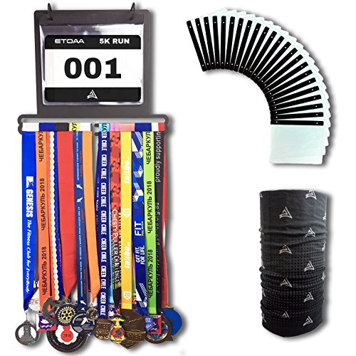 ETOAA Medal Display for Runners Including 23 Bib Sleeves - 40 Medal Hanger and 100 Race Bib Holder - Wall Mounted Rack in a Premium Gift Box; Ideal for Runners, Marathon, Triathlon and Other Sports