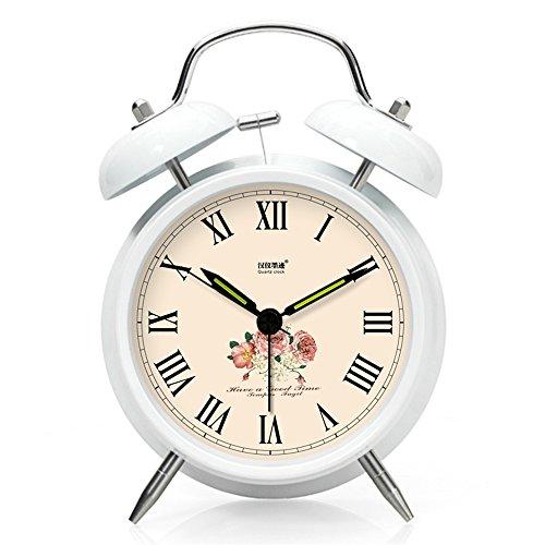 Baidercor Roman Numerals Twin Bell Alarm Clock with Nightlight White 4'' by Baidercor
