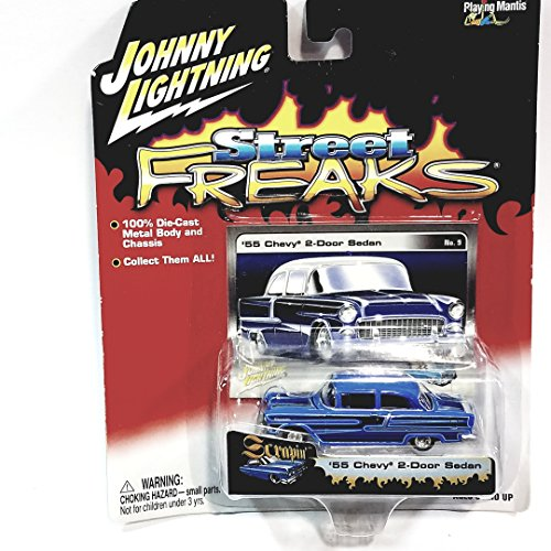1955 Chevy 2 Door Sedan (Johnny Lightning Street Freaks SCRAPIN 1955 Blue Chevy 2 Door Sedan 1/64 Scale Diecast Car)