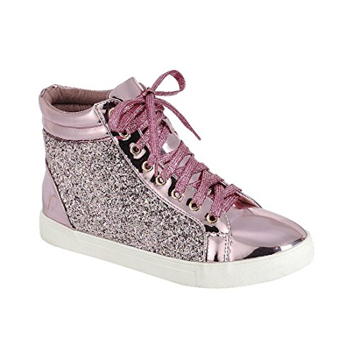 FOREVER FP39 Damen Glitter Lace Up Knöchel High Top Fashion Street Sneakers Rosa