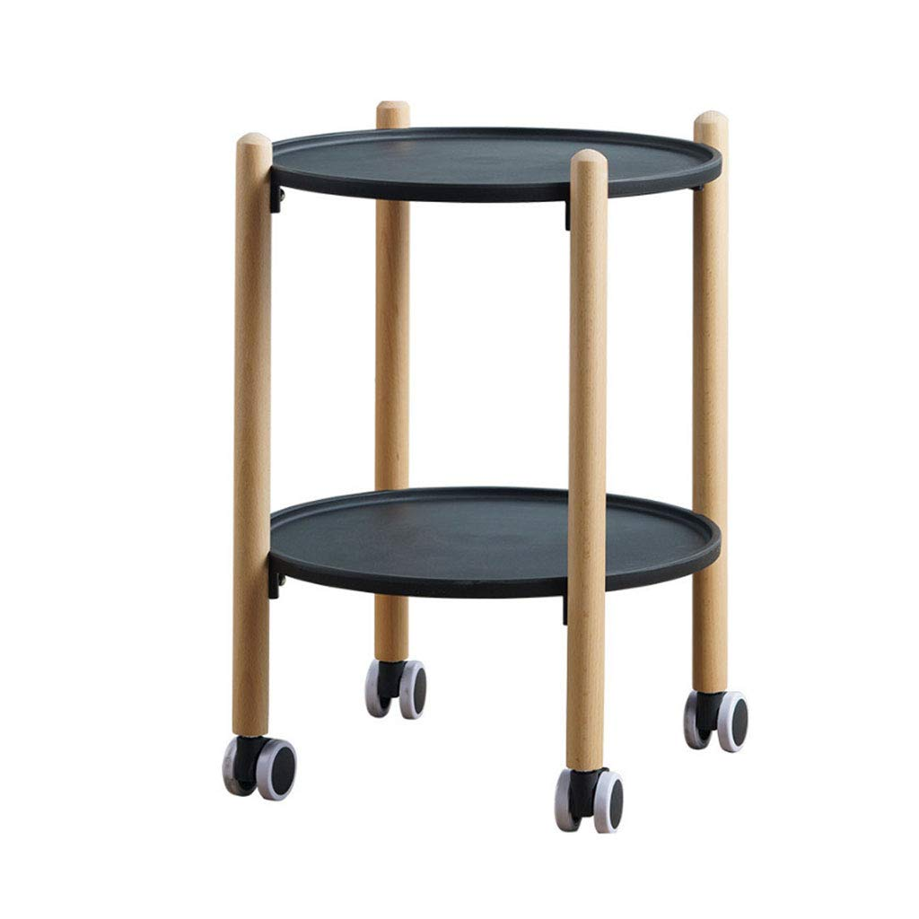 Black Small Table Round Solid Wood Side Table Living Room Small Square Table Simple Mobile Dining Car Coffee Table (color   Black)