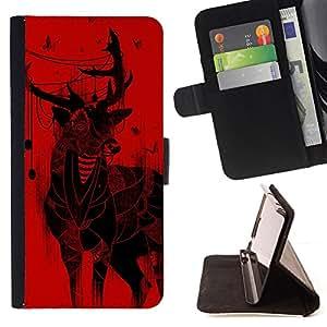 BullDog Case - FOR/Sony Xperia Z2 D6502 / - / deer christmas art drawing red butterflies /- Monedero de cuero de la PU Llevar cubierta de la caja con el ID Credit Card Slots Flip funda de cuer