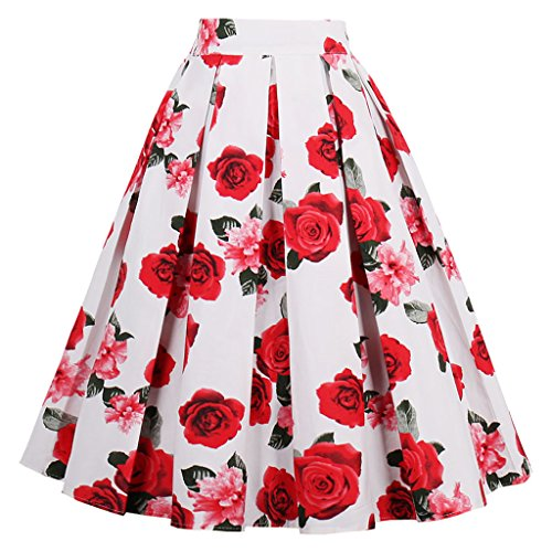 Dressever Women's Vintage A-line Printed Pleated Flared Midi Skirts White-Rose X-Large