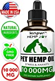 Kinpur Natural Hemp Oil for Dogs & Cats - 10 000mg - Pet Hemp Oil - Separation Anxiety & Stress Relief - Supports Mobility, Hip & Joint, Immune System - Calming Treats for Dogs - Made in USA