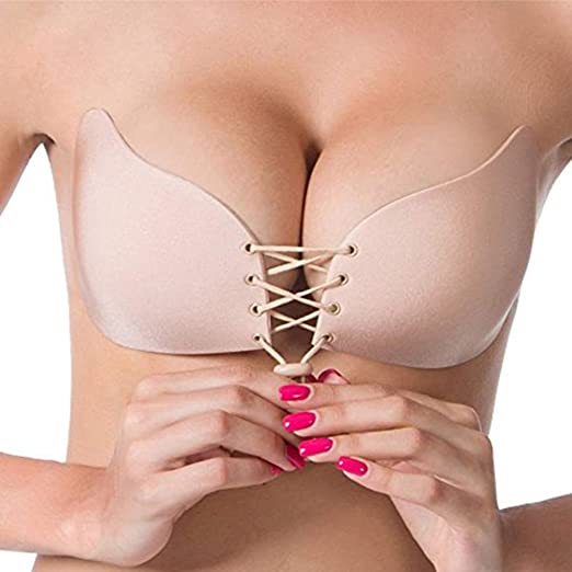 214e0899ebc Sticky Bra Self-Adhesive Invisible DD – 34DDD Strapless Pushup Backless Bra  with Drawstring for
