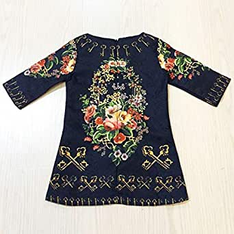 Flower And Key European Style 8-9years Half Sleeve Dress For Gril Little Anaya