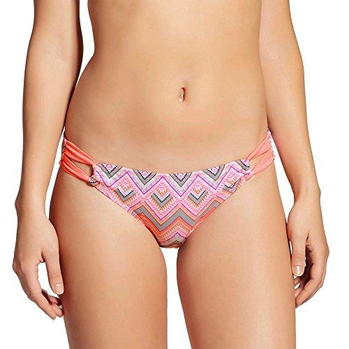 Xhilaration Swim Bottom - Xhilaration Women's Tab Side Bikini Bottom (X-Small, Coral Chevron)
