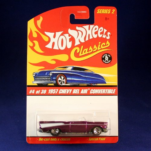 1957 Pontiac Convertible (1957 CHEVY BEL AIR CONVERTIBLE (PURPLE) 2005 Hot Wheels Classics 1:64 Scale SERIES 2 Die Cast Vehicle)
