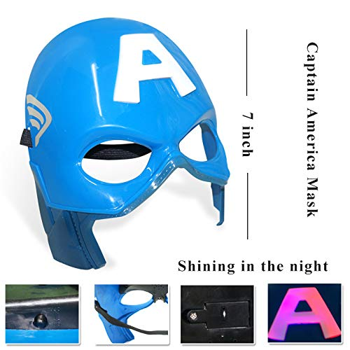 Fundisinn Captain America 5 Packs Cartoon Superhero Costume Light Sound Shield & Satin Cape & Light Mask & Adjustable Sword & Fire Gloves Dress Up Costumes Captain America Toys for Kids by Fundisinn (Image #3)
