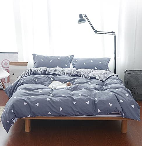 Dark Gray Triangles, Twin TC Luxury Hypoallergenic Comforter Cover with Corner Ties Gift Choice Uozzi Bedding 3 Piece Duvet Cover Set 800 1duvet Cover +2pillowshams
