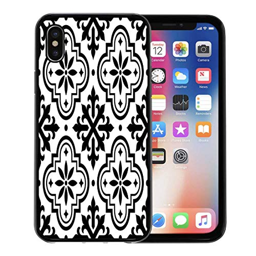 Semtomn Phone Case for Apple iPhone Xs case,Mosaic Spanish Pattern Moroccan Tiles Black and Azulejo Floor Portuguese for iPhone X Case,Rubber Border Protective - Portuguese Floor