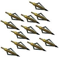 Paquete de 12 Flechas Broadheads 3 cuchillas Tiro con arco Flechas Cabezas 100 granos para ballesta y arco compuesto