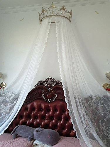 bed canopy,European wrought iron bedspread mosquito net drapery curtain decorative crown netting curtains-G ()