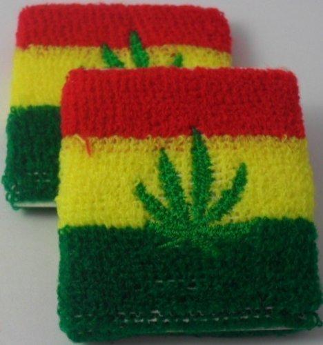 Pair Of Ganja / Weed Leaf Jamaica Sweatbands by Beautifeye