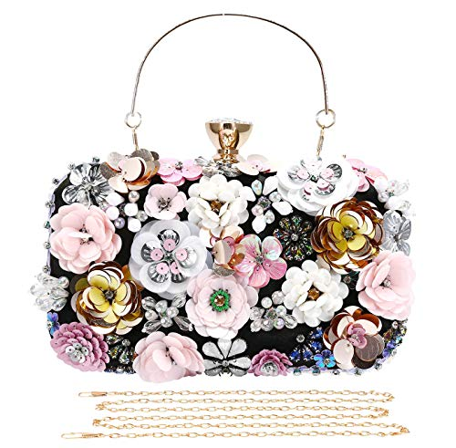Selighting Colored Floral Clutches Evening Bags for Women Formal Bridal Wedding Clutch Purse Prom Cocktail Party Handbags (One Size, Black)
