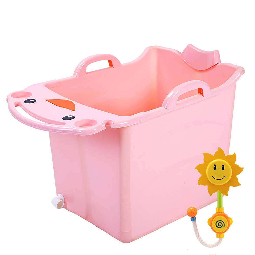 ZJZ Planschbecken für Kinder Groß, Bequeme Faltbare Verdickung Wäschewanne Wäsche Kinderwanne Geeignet für Zu Hause Badewerkzeuge 2 Farben (Farbe   Rosa und Blau) C