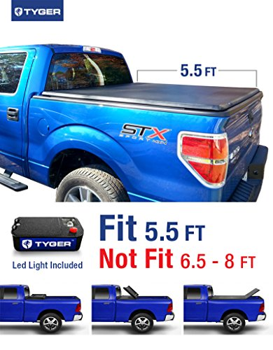 Tyger Auto TG-BC3F1019 TRI-FOLD Truck Bed Tonneau Cover 2009-2014 Ford F-150 (Excl. Raptor Series) | Styleside 5.5' Bed | For models without Utility Track (2009 F150 Truck)
