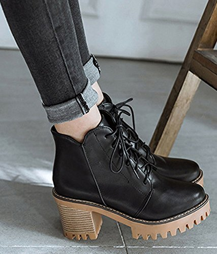 IDIFU Womens Stylish High Chunky Heel Lace Up Platform Ankle Boots Black vDizt