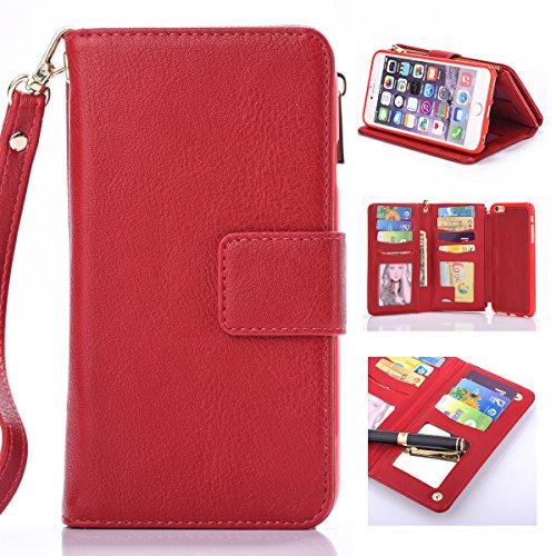 iPhone 6 Plus / iPhone 6s Plus Cordón de bolsillo de cremallera de gran capacidad de cuero Cartera de cuero caso con muñeca separable de 360 grados de protección Portatarjetas de embrague de lujo Caja rojo
