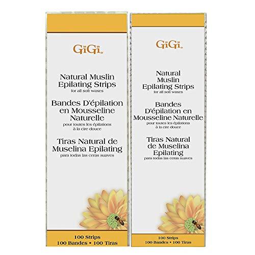 GiGi Small & Large Muslin Strips 100 Ct Each, 200 - Strips Natural Muslin Epilating