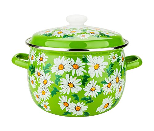 3-Piece Set, Dutch Oven Pans with Cover Lids, 6 Enamel Coated Round Steel Casserole/Saucepot with Cover, Induction Ready Cookware Set,Daisies on Green Stock Pots