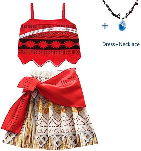 Disfraz de Princesa Moana para niñas Vaiana con Collar para ...
