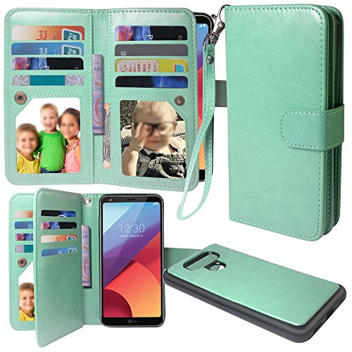 LG G6 Case, Harryshell(TM) Luxury 12 Card Slots Shockproof PU Leather Wallet Flip Protective Case with Wrist Strap & Removable Magnetic Back Cover for LG G6 (Leather Carring Case)