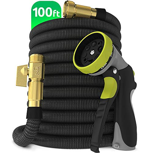"""Nifty Grower 100ft Garden Hose - All New Expandable Water Hose with Double Latex Core, 3/4"""" Solid Brass Fittings, Extra Strength Fabric - Flexible Expanding Hose with Metal 8 Function Spray Nozzle"""