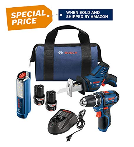 Bosch Power Tools Combo Set - GXL12V-310B22 - 12-Volt 3-Tool Combo Kit - Pocket Reciprocating Saw PS60, Drill PS31, LED Worklight GLI12V-300 For Maintenance Repair, Electrician, Contractor, Home ()